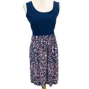 Torrid Fit N Flare Tank Dress Blue Pink Printed 1